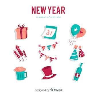 Conjunto de elementos de festa de ano novo 2019