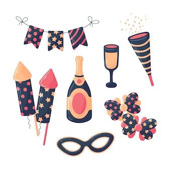 Conjunto de elementos de festa de ano novo de mão desenhada