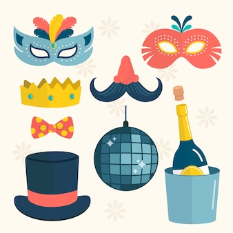 Conjunto de elementos de festa de ano novo design plano