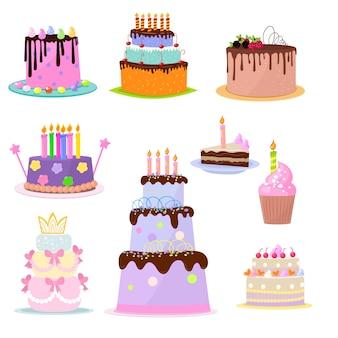 Conjunto de elementos de festa de bolos de aniversário no fundo branco