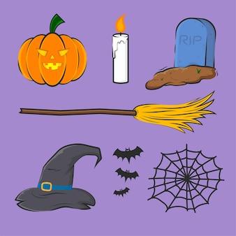 Conjunto de elementos de festa de halloween