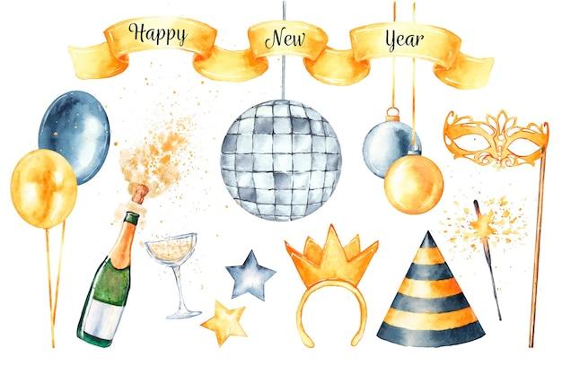 Conjunto de elementos de festa em aquarela de ano novo
