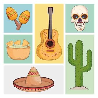 Conjunto de elementos de festa mexicana