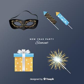 Conjunto de elementos de festa realista de ano novo