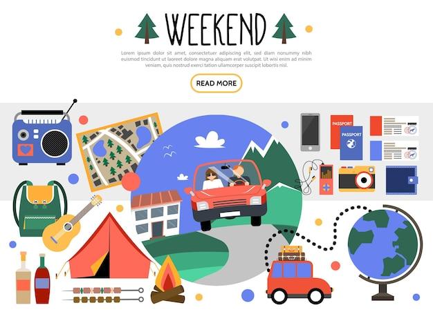 Conjunto de elementos de fim de semana plano com carro viajando camping rádio mapa guitarra mochila churrasco
