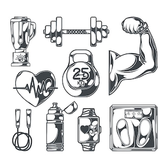 Conjunto de elementos de fitness em preto e branco