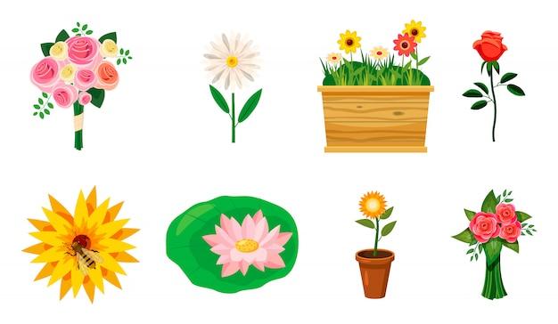 Conjunto de elementos de flor. conjunto de desenhos animados de flor