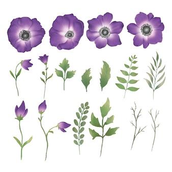 Conjunto de elementos de flor em aquarela de cor roxa