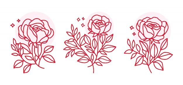 Conjunto de elementos de flor rosa rosa mão desenhada para design de cartão de convite de casamento