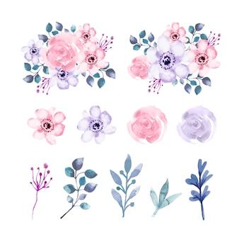 Conjunto de elementos de flores e folhas em aquarela