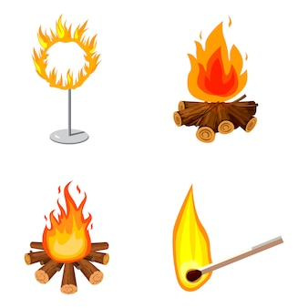 Conjunto de elementos de fogo. conjunto de desenhos animados de fogo