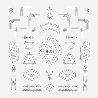 Conjunto de elementos de forma geométrica vintage linear de linha fina art déco design retro com emblema de canto de moldura