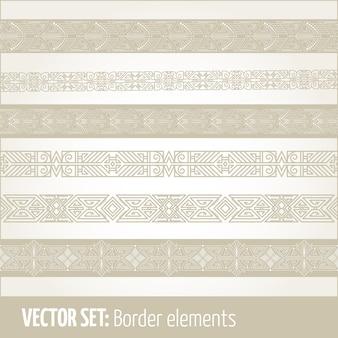 Conjunto de elementos de fronteira e elementos de decoração da página.