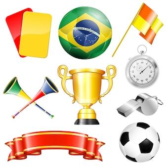 Conjunto de elementos de futebol: bola, troféu, fita, cartões, apito
