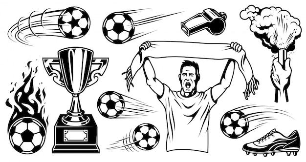 Conjunto de elementos de futebol e jogadores