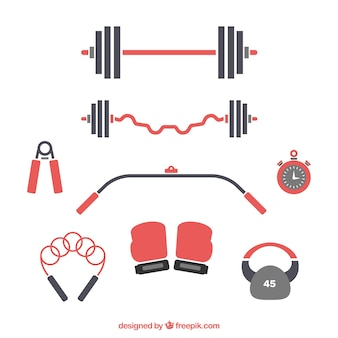Conjunto de elementos de ginástica com ferramentas de exercícios