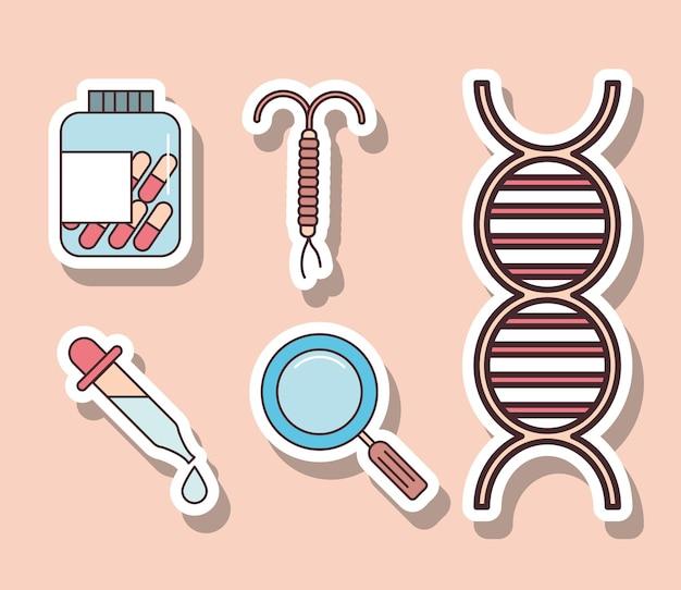 Conjunto de elementos de ginecologia iud medicine