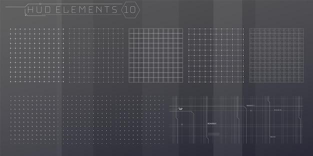 Conjunto de elementos de grades de hud para uma interface futurista.