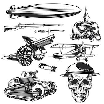 Conjunto de elementos de guerra para criar seus próprios emblemas, logotipos, etiquetas, pôsteres etc.