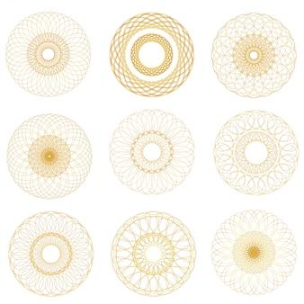 Conjunto de elementos de guilhoché vetor abstrato