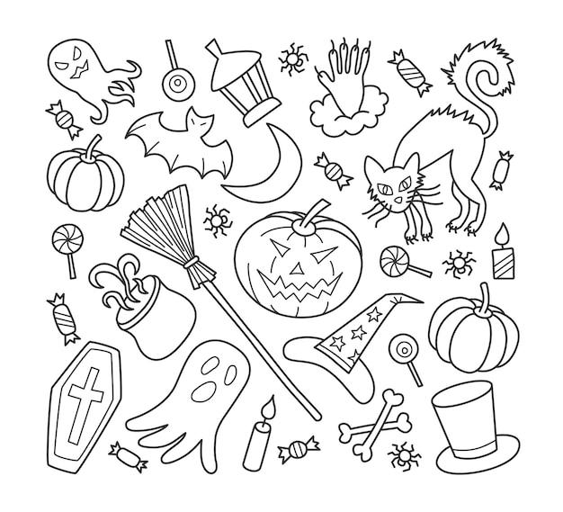 Conjunto de elementos de halloween com chapéu de abóbora, fantasma e bruxa em estilo doodle