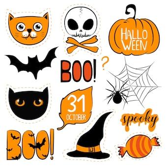 Conjunto de elementos de halloween com crânio de aranha de gatos abóbora