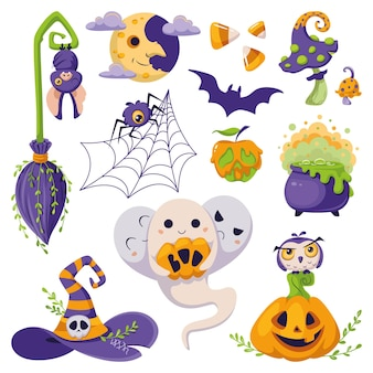 Conjunto de elementos de halloween com ilustração vetorial de desenho animado