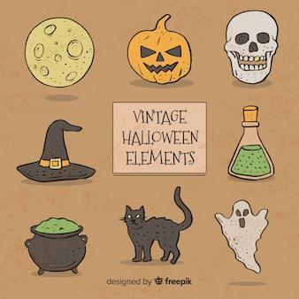 Conjunto de elementos de halloween de mão desenhada