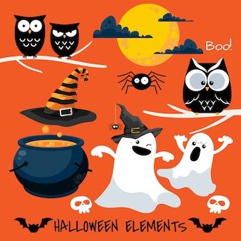 Conjunto de elementos de halloween e símbolos.