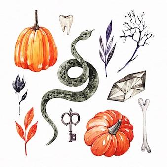 Conjunto de elementos de halloween em aquarela