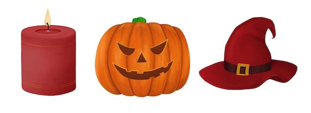 Conjunto de elementos de halloween isolado no branco