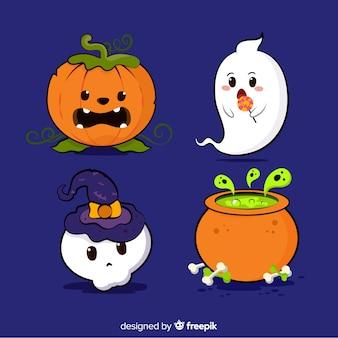 Conjunto de elementos de halloween mão desenhada estilo