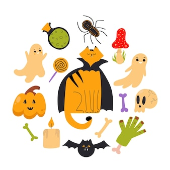 Conjunto de elementos de halloween para cartões de decoração, folhetos e cartazes de eventos