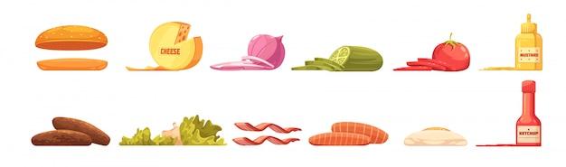 Conjunto de elementos de hambúrguer em estilo retro dos desenhos animados com molho de omelete de legumes de carne de queijo coque