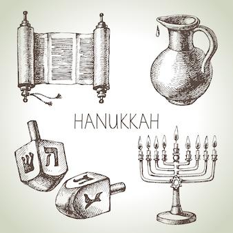 Conjunto de elementos de hanukkah esboço desenhado de mão. objetos e símbolos do festival de israel. ilustração