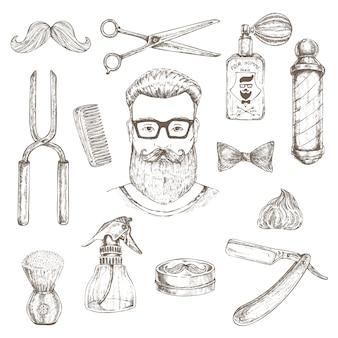 Conjunto de elementos de hipster e barbeiro