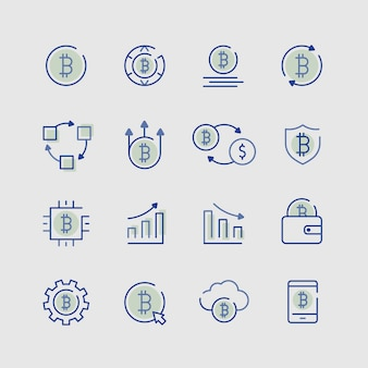 Conjunto de elementos de ícone de criptomoeda