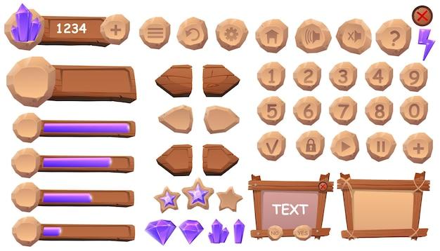 Conjunto de elementos de ícones de botões para jogos e aplicativos casuais de desenho animado
