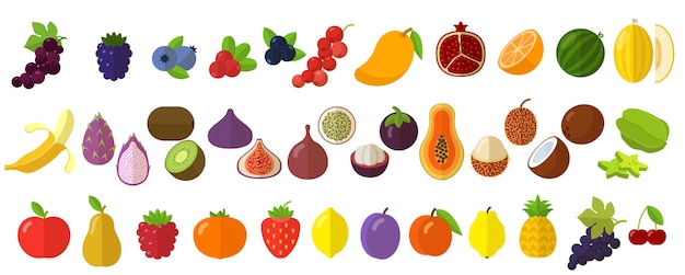 Conjunto de elementos de ícones de frutas e bagas frescas cruas