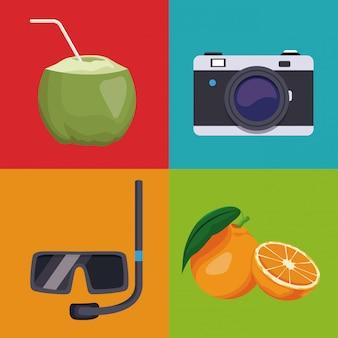 Conjunto de elementos de ícones de verão em quadros coloridos