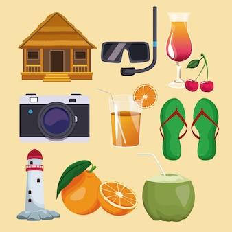 Conjunto de elementos de ícones do verão