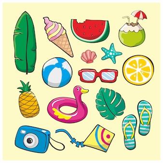 Conjunto de elementos de ilustração de doodle de verão