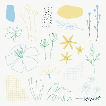 Conjunto de elementos de ilustrações de doodle de folhas botânicas estéticas