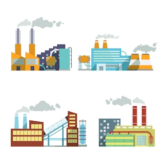 Conjunto de elementos de indústria de construção