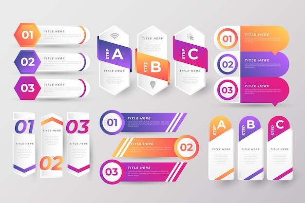 Conjunto de elementos de infográfico colorido