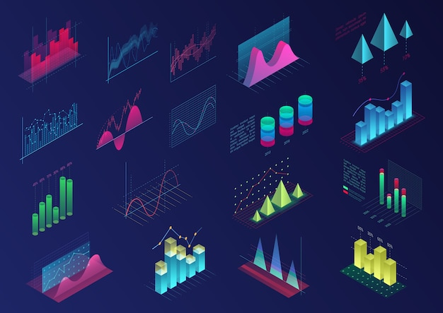 Conjunto de elementos de infográfico coloridos vívidos para design de interface do usuário, gráficos de apresentação, estatísticas de dados. diagrama de luz brilhante isométrica 3d