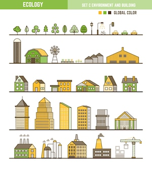 Conjunto de elementos de infográfico de ecologia