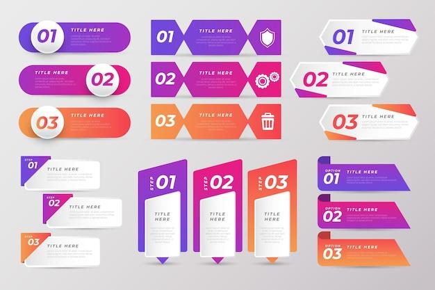 Conjunto de elementos de infográfico de gradiente