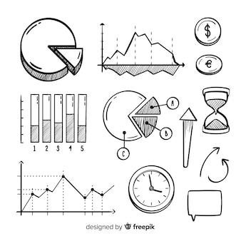 Conjunto de elementos de infográfico desenhado de mão