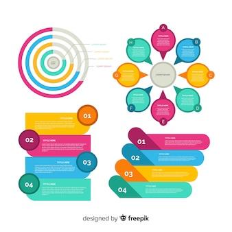 Conjunto de elementos de infográfico design plano